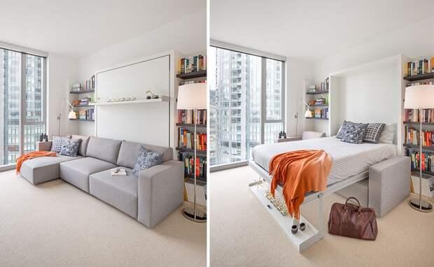 Кровать-шкаф занимает минимум места в комнате. / Фото: dizainvfoto.ru
