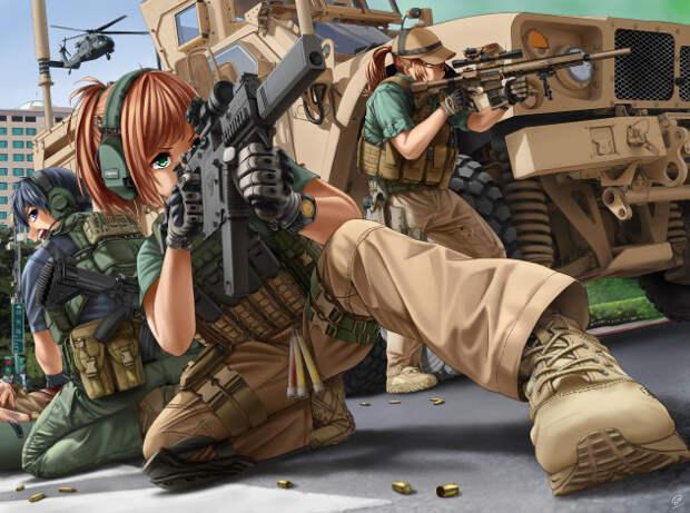 Обои аниме, оружие, , техника, , технологии, солдаты, девушки ...