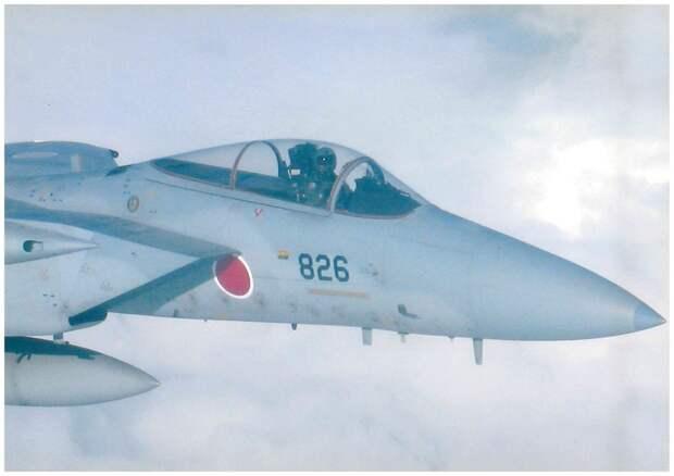 Дежурные полеты: 1) Японский летчик на F-15, 2) Японский летчик на F-4