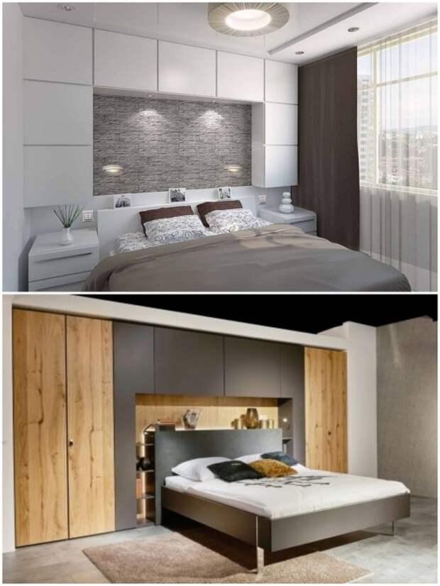 Прикроватные шкафы помогут создать акцентную стену и станут дополнительным местом хранения вещей.   Фото: pinterest.com/ thearchitect.pro.