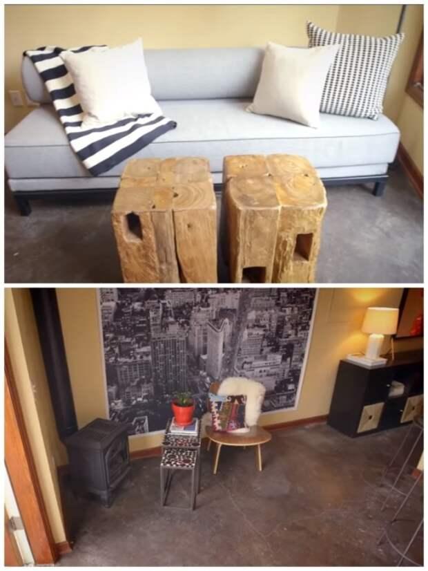 Стильная и уютная гостиная в переоборудованном гараже. | Фото: youtube.com.
