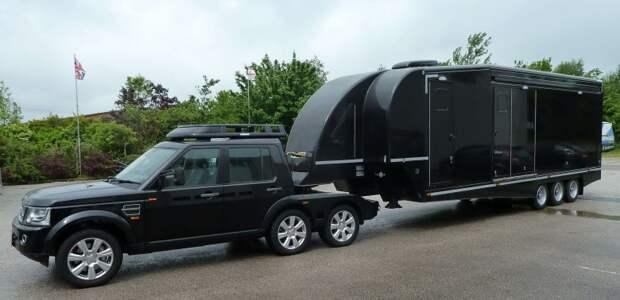 Автодом для крутых мужиков: шестиколесный Land Rover Discovery с трейлером и маленьким вездеходом land rover, авто