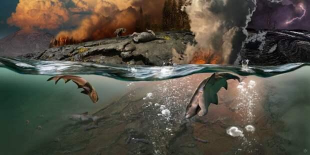 Массовое вымирание в воде происходило быстрее, чем на суше