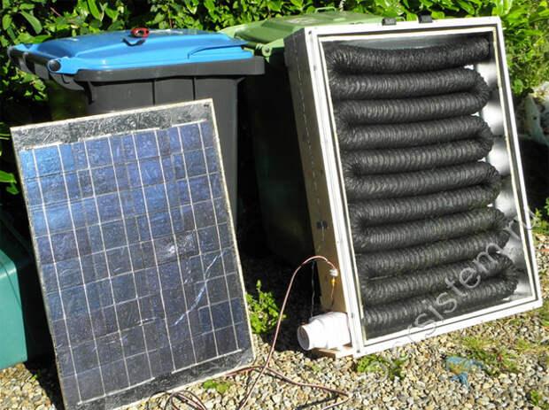 самодельный солнечный коллектор с питанием от солнечной батареи