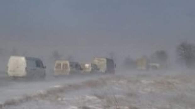 Сильная метель парализовала движение на подъезде к селу в Мурманской области