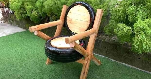 Как сделать кресло из шин в деревенском стиле