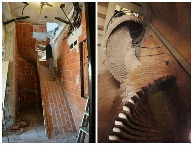 Из кирпича можно сделать удивительной формы лестницы.   Фото: fishki.net.