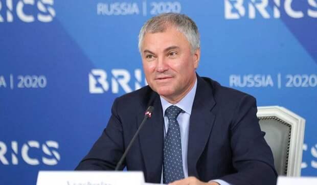 Володин призвал выработать механизмы парламентского взаимодействия БРИКС
