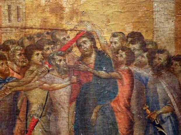 Картина Осмеяние Христа, давно утраченный шедевр флорентийского художника эпохи Возрождения Чимабуэ. \ Фото: insider.com.