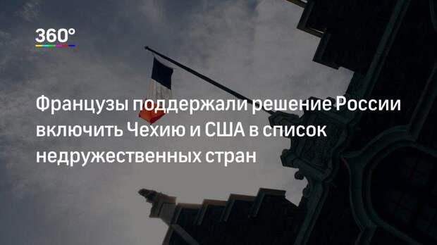 Французы поддержали решение России включить Чехию и США в список недружественных стран