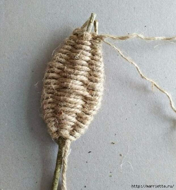 Декоративные листики из веточек и шпагата (9) (498x537, 172Kb)