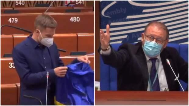 Председатель ПАСЕ сорвал овации, заставив замолчать депутата Рады с флагом Украины
