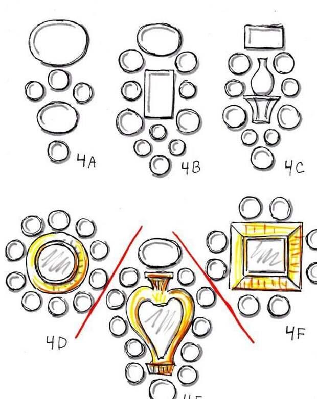 Примеры возможных композиций тарелок и блюд на стене