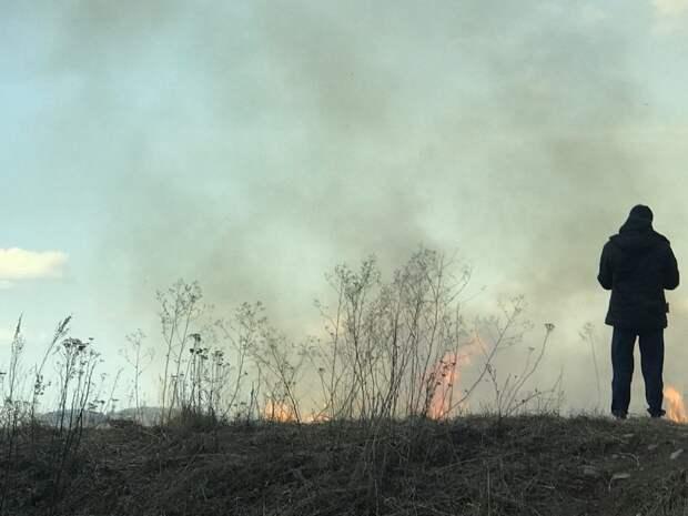 Сухая трава вспыхнула вблизи жилых домов в Сахалинской области