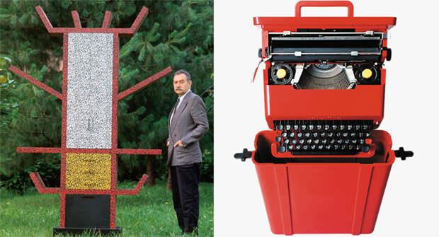 Стеллаж в стиле Мемфис и печатная машинка.