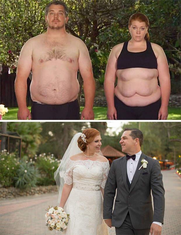 Они потеряли 87 килограммов на двоих к свадьбе! диета, лишний вес, похудение