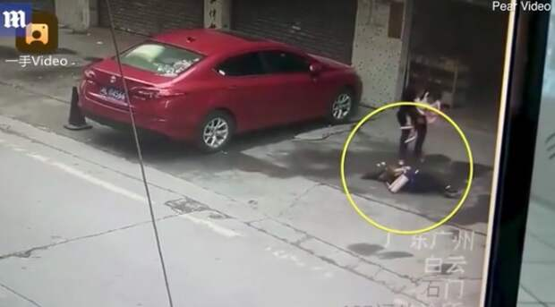 На китаянку с неба упала собака