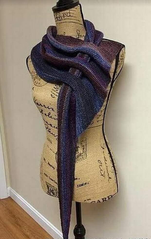 схема вязания ассиметричного платка-шарфа