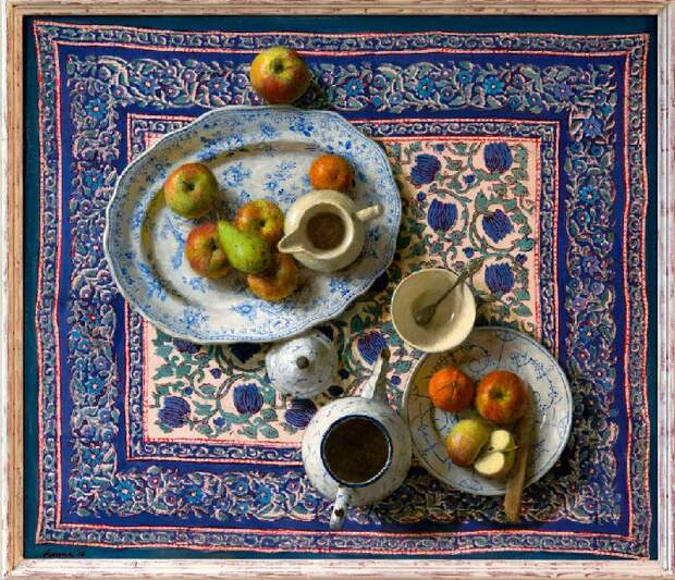 Фрукты на красивом синем. Живопись от Kenne Gregoire.
