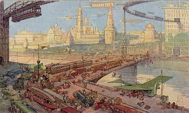 Такое оживленное движение общественного транспорта в Москве видели российские художники-футуристы. | Фото: twitter.com.