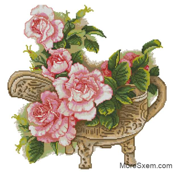 Китайская ваза с розами