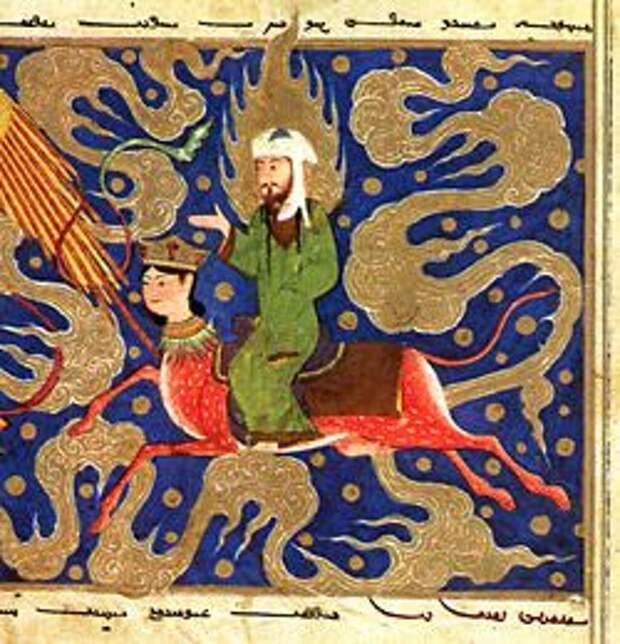 Пророк Мухаммад на Бураке летит над морем