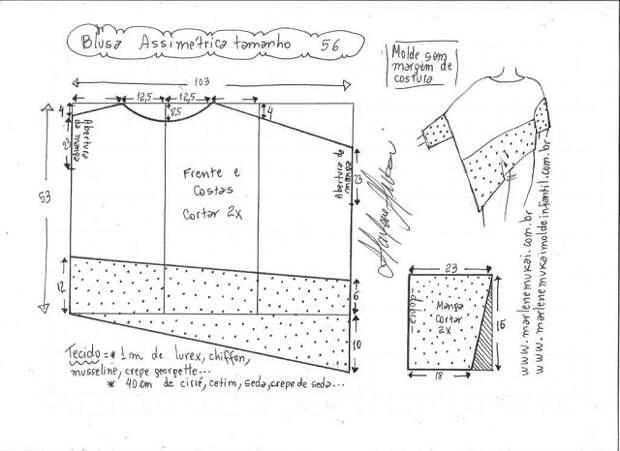Выкройка ассимитричной блузы – просто и необычно!