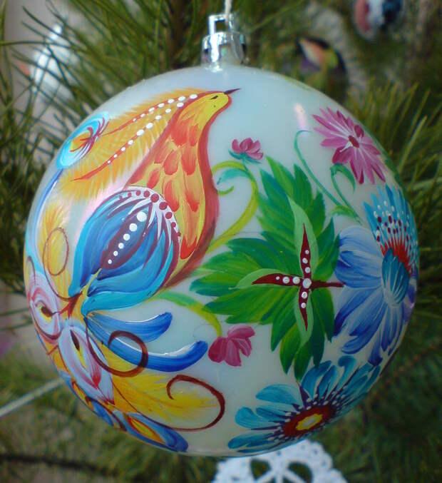 Елочные шары с художественной росписью. Браво мастерам за красоту!