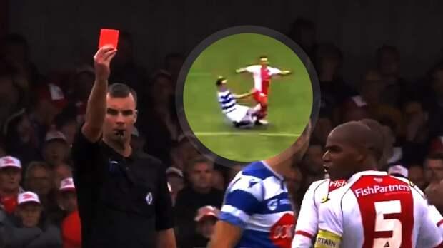 ВГолландии игрок совершил жесткий подкат под соперника без мяча ибыл удален