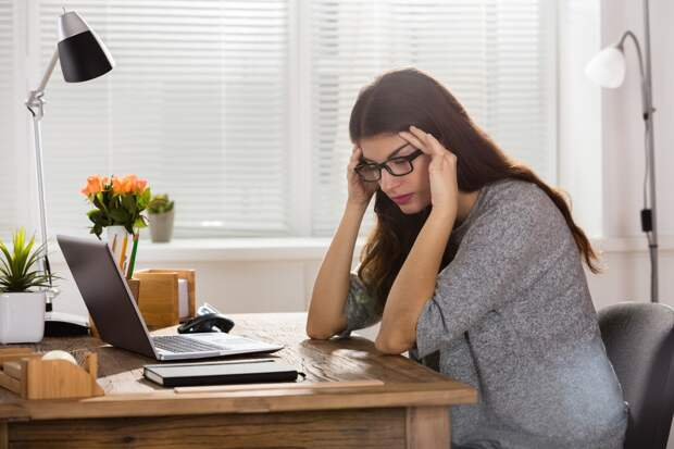 Sad Depressed Young Businesswoman Sitting In Office, Image: 335683530, License: Royalty-free, Restrictions: , Model Release: yes, Credit line: Profimedia, Panthermedia