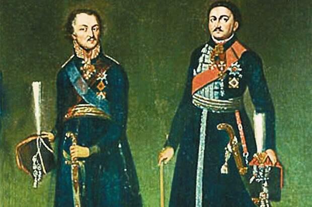 Два атамана Войска Донского: Матвей Платов и Василий Орлов. Оба приняли участие в несостоявшемся походе на Индию.