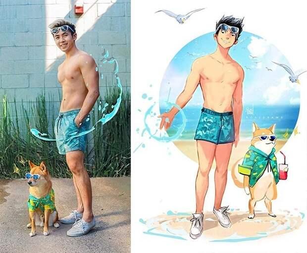 20 удивительных трансформаций: художник превращает себя исвою собаку вмультяшек