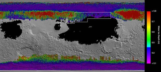 Лед под поверхностью Марса