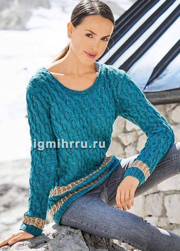 Шерстяной пуловер и нежная шаль спицами
