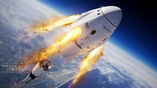 Запуск Crew Dragon в космос