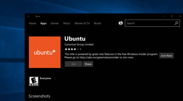Дистрибутив Ubuntu стал доступен в магазине Windows Store для Windows 10