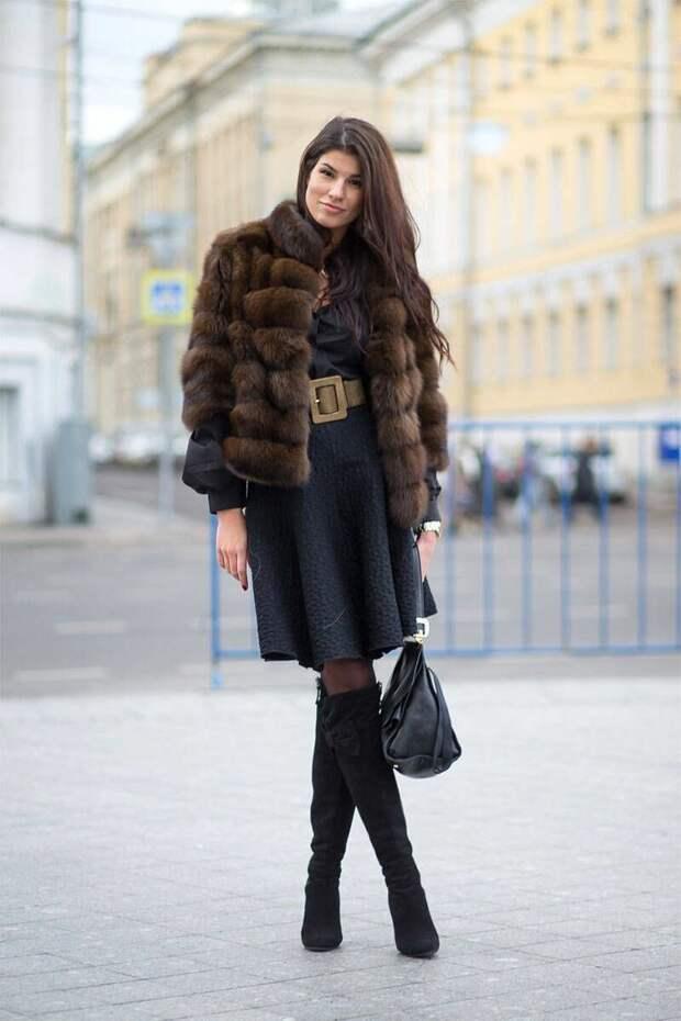 Осенне-зимний наряд с платьем. /Фото: i.pinimg.com