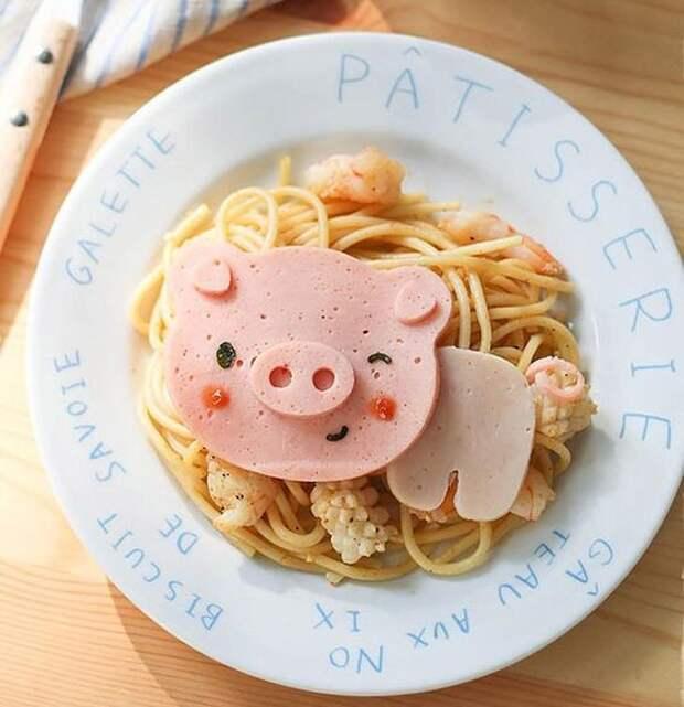 Милейшие блюда японской кухни : Паста с милым поросёнком