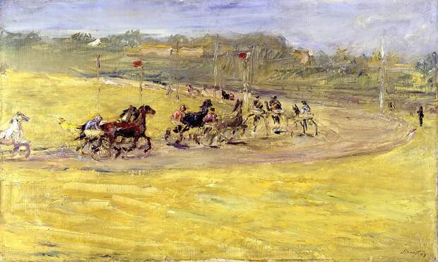 "Макс Слефогт. Скачки. 1907.  ""Harness Racing"".Max Slevogt - Oil On Canvas - 1907 - Staatliche Museen zu Berlin (Germany)"