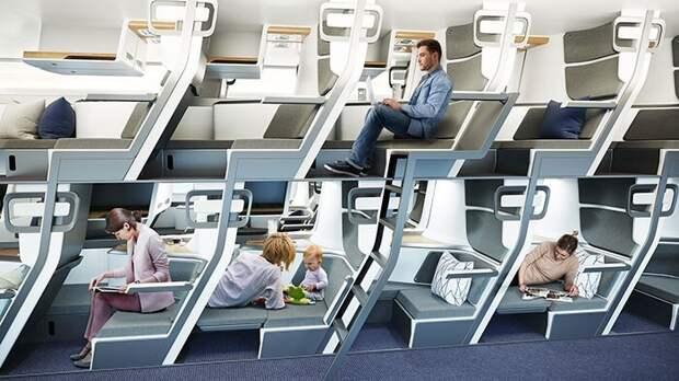 Эконом-класс пассажирских самолетов могут сделать более похожими наплацкартные поезда