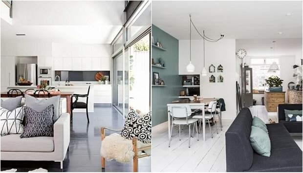 Примеры объединения гостиной и столовой.
