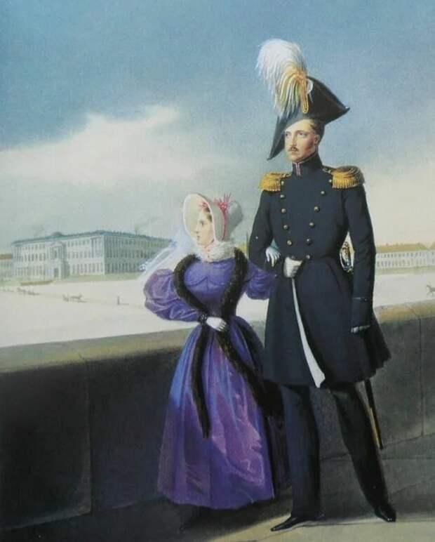 Царь Николай I и его дочь Мария Николаевна во время прогулки по Дворцовой набережной, неизвестный художник, Источник: Яндекс картинки
