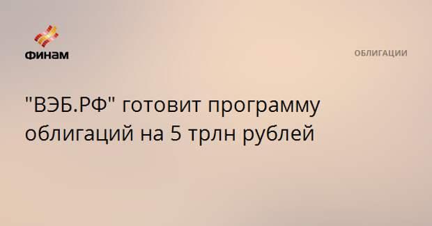 """""""ВЭБ.РФ"""" готовит программу облигаций на 5 трлн рублей"""