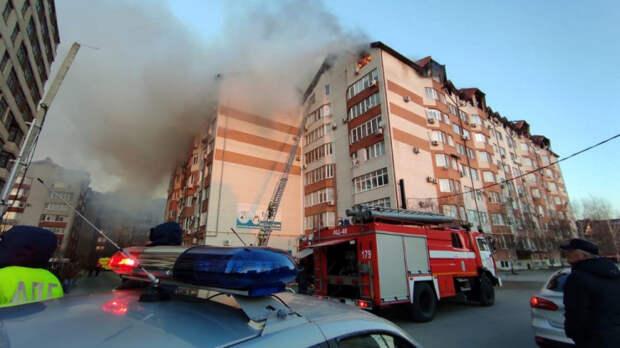 Губернатор Кубани поручил временно разместить жильцов горящего дома в Анапе