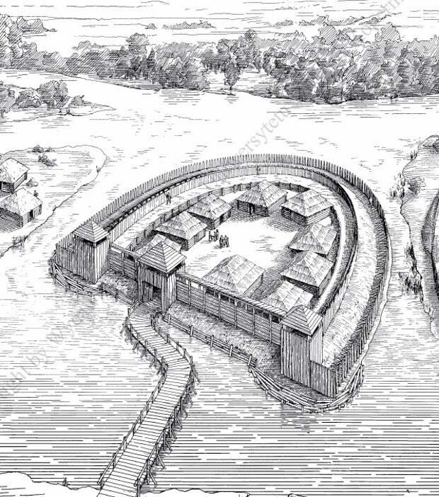 Реконструкция городища западных славян в Шпандау, округе Берлина