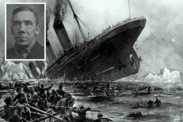 Фото Титаника и портрет мужчины