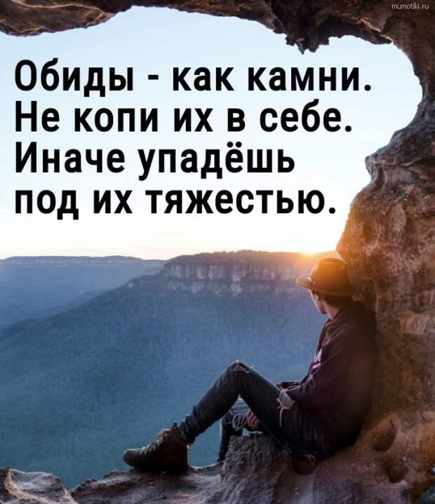 Обиды - как камни. Не копи их в себе. Иначе упадёшь под их тяжестью. #цитата