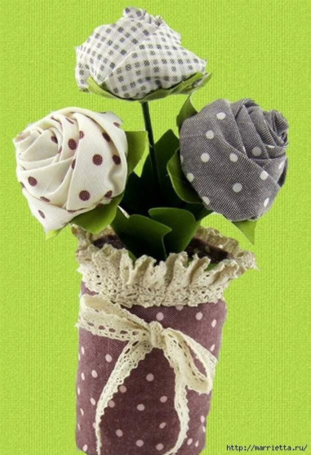 Ручная работа. Цветы из ткани (6) (463x678, 228Kb)
