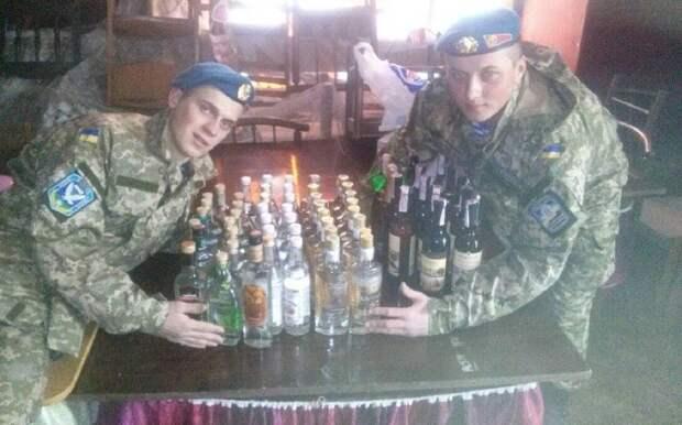 Украинские солдафоны гнали сивуху на фронте