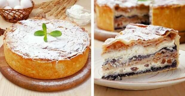 Балканский пирог с творогом и яблоками. Слоёное и многоэтажное лакомство